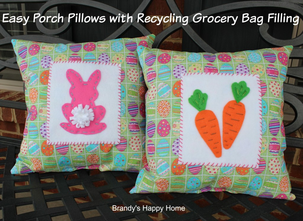 Porch pillows with recycling grocery bag filler