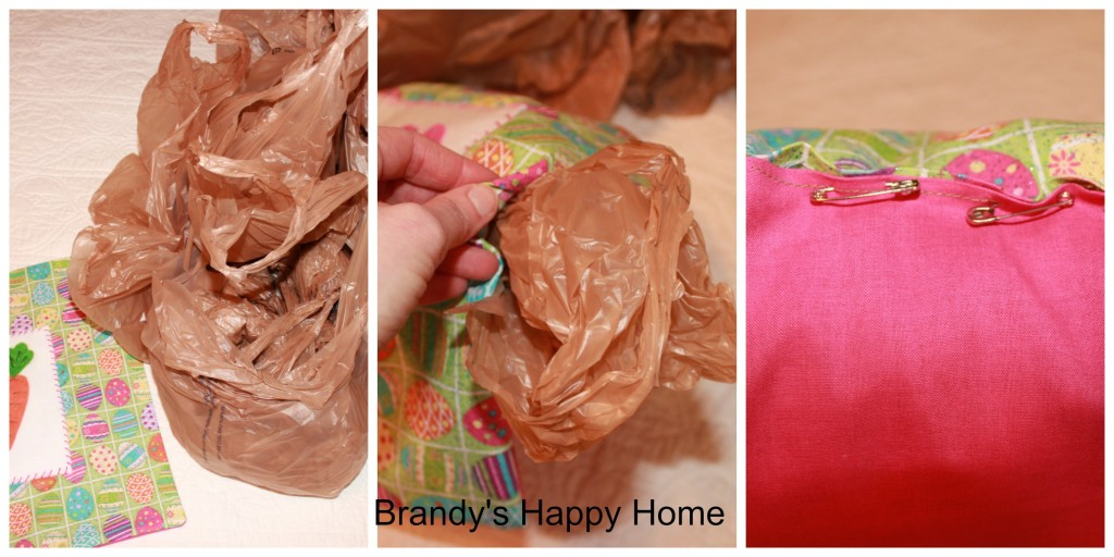 Recycling grocery bag pillow filling