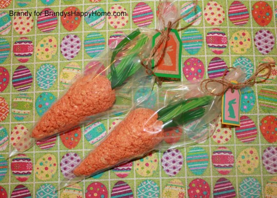rice krispies carrots with bags and tags