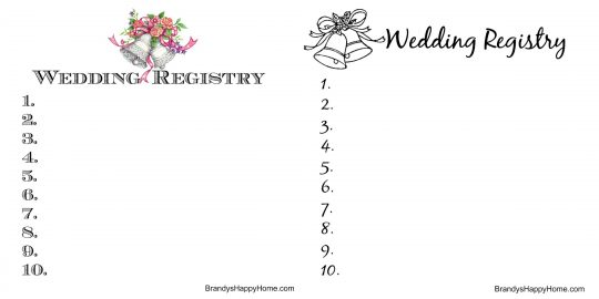Doll Wedding Registry Lists