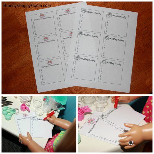 doll wedding registry list printables