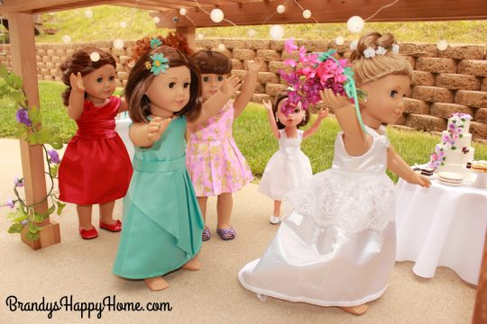 doll wedding bouquet toss