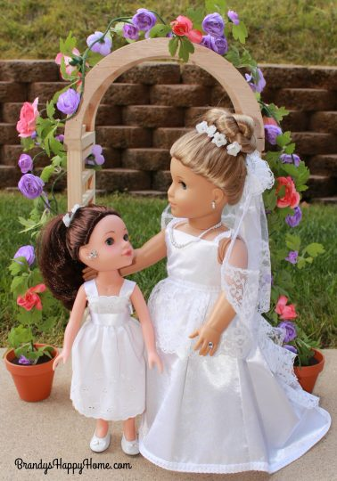doll wedding bride with flower girl