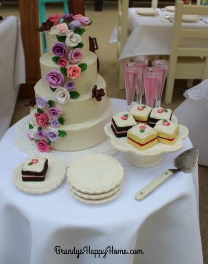 doll wedding cake table