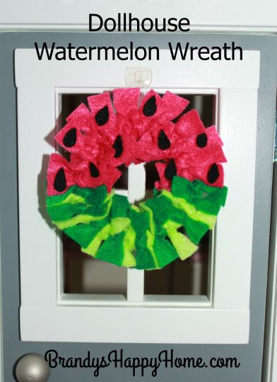 dollhouse watermelon wreath on door