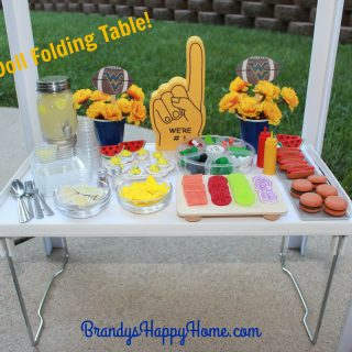 Doll Tailgate Folding Table and Food