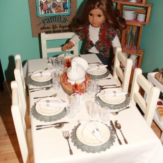 Doll Thanksgiving Table Decor & Serveware