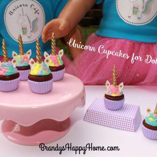 Unicorn Cupcakes for Dolls