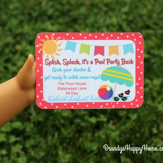 Pool Party Invitations for American Girl Dolls
