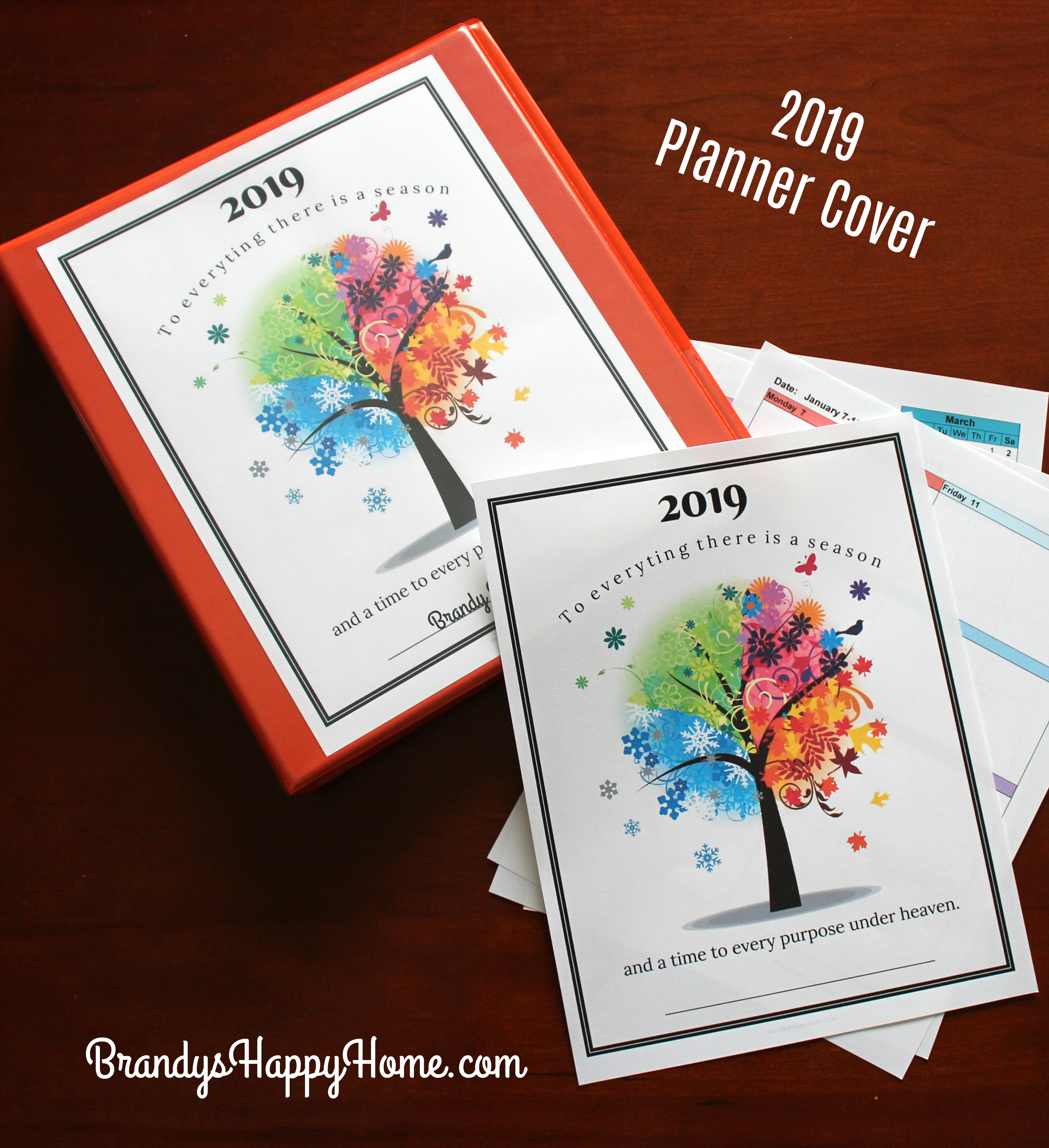 FREE 2019 DIY Calendar Planner Printables Homemade Ring Planners on letter size planner, monthly planner, daily planner, small three-ring planner, d*i*y planner, 3 prong planner, personalized day planner, printable planner, business planner,