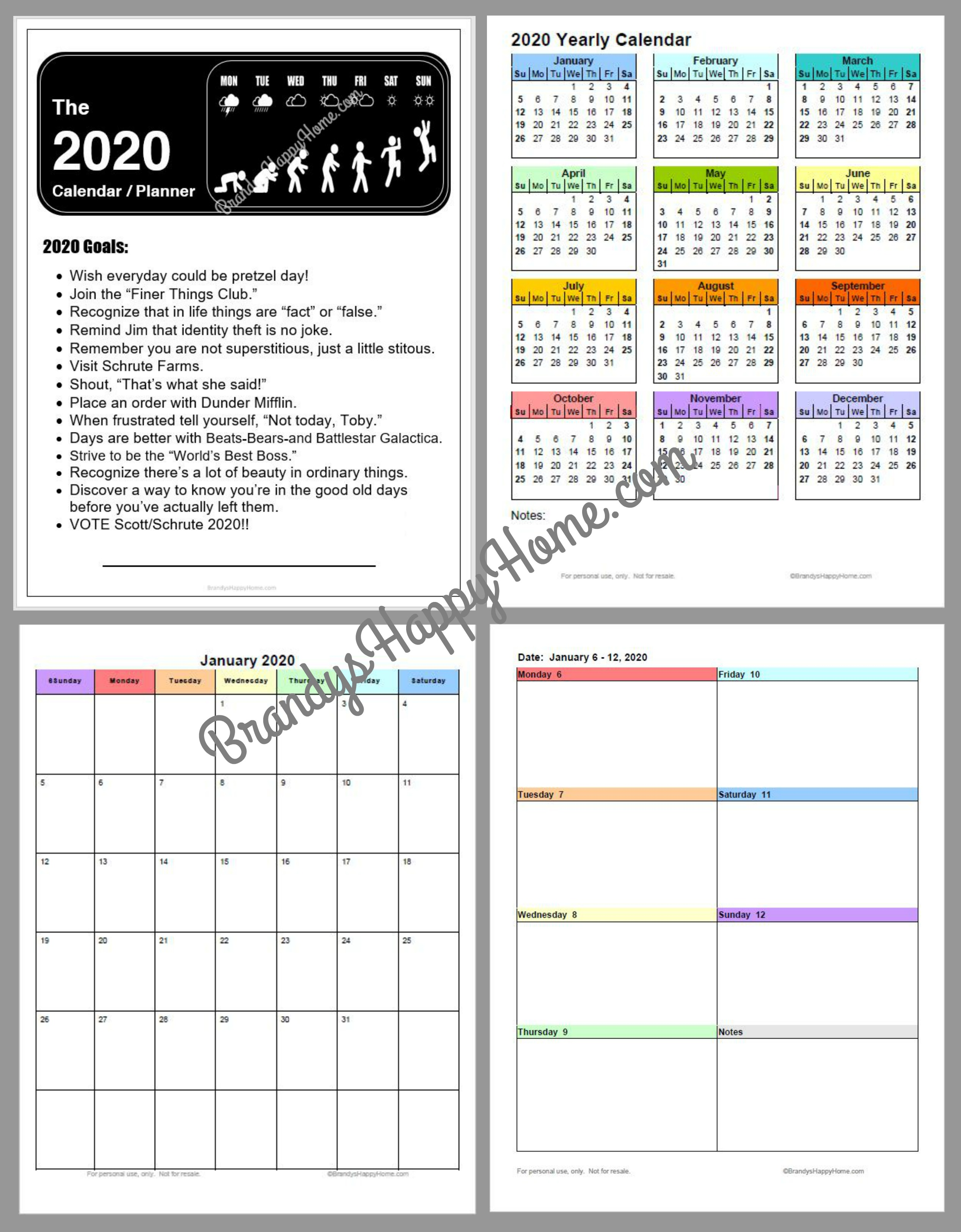 It is a photo of Sassy Printable Monthly Planner 2020