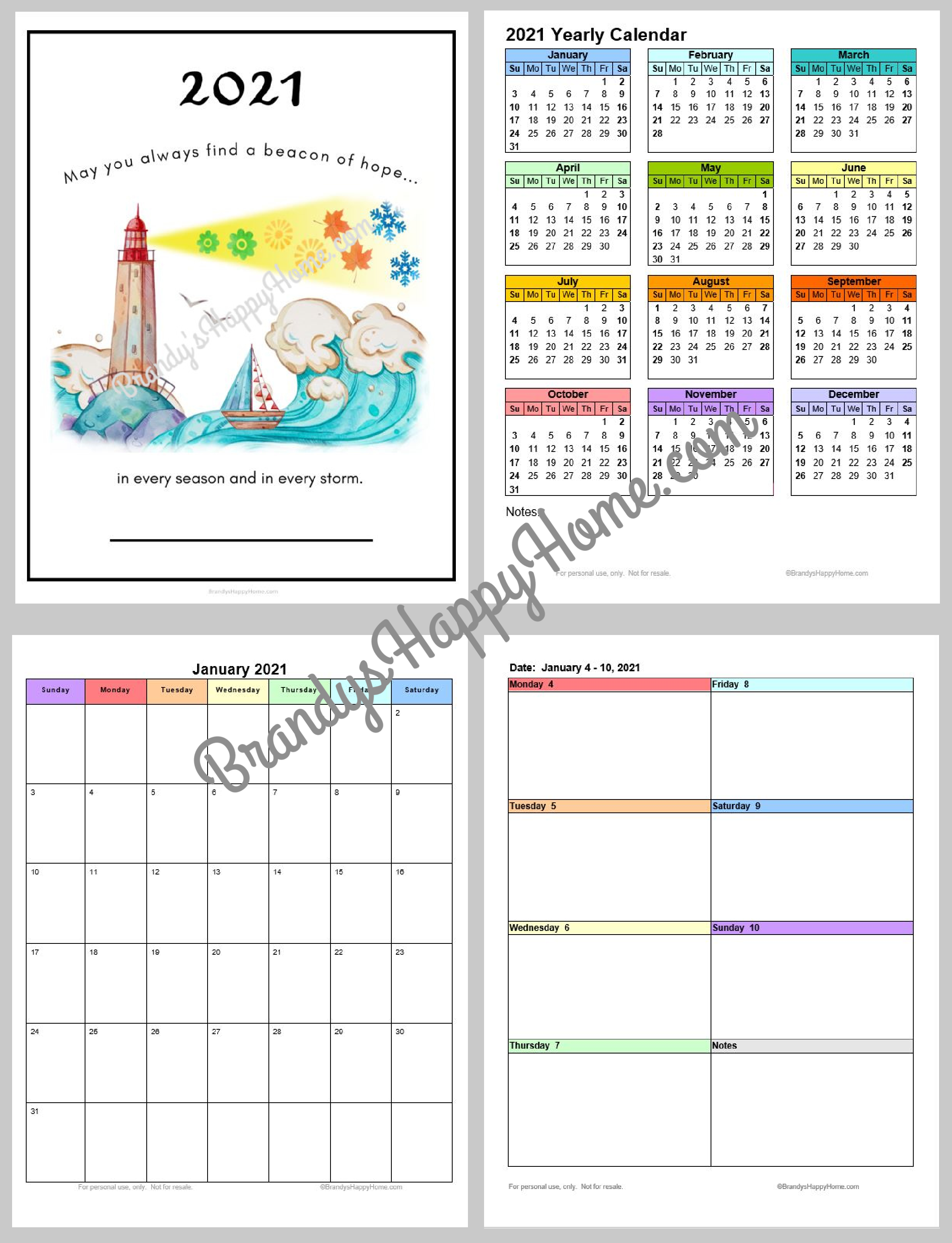 Printable Planner Calendar 2021 FREE 2021 Calendar Planner Printables